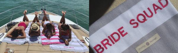 Presente exclusivo e personalizado a foto da esquerda mostra o esquadrão da noiva passeando de barco, a direita foto macro da fouta plage gray personalizada com a frase bride squad